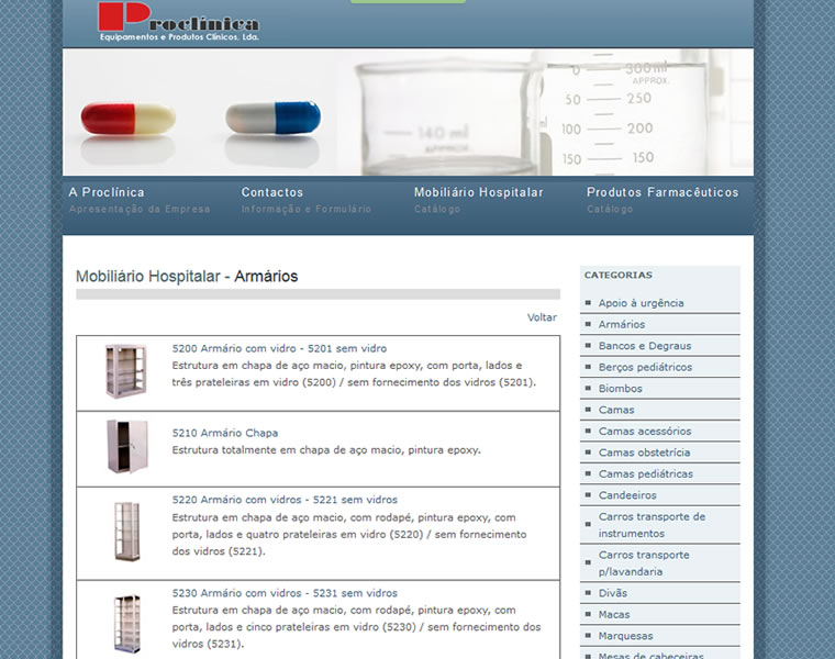 webdesign sites materiais hospitalares